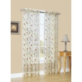 Style Selections Arcadia 84 in Antique Polyester Rod Pocket Sheer Single Curtain Panel