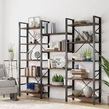 Incolmplet Triple Wide 5 Shelf Bookcase Etagere large Open Bookshelf Vintage Industrial Style Shelves  Retail 254 49