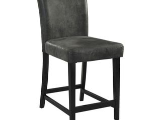 Morocco Upholstered Counter Height Barstool Hardwood Dark Gray   linon