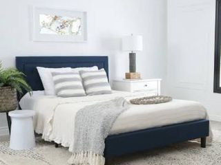 Abbyson Karyn Navy Blue Tufted Upholstered Bed