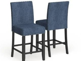Set of 2 Strick   Bolton Gallaccio 25 inch Blue Fabric Stool  Set of 2    40 H x 18 3 W x 22 3 l  Retail 156 49