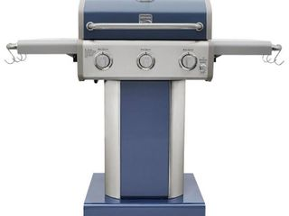 KENMORE 3 Burner Propane Gas Pedestal Grill with Foldable Side Shelves Azure  Blue