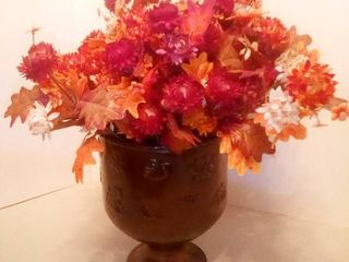 Brass Flower Pot with Fall Decor