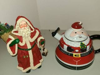 Christmas teapot and Santa figurine