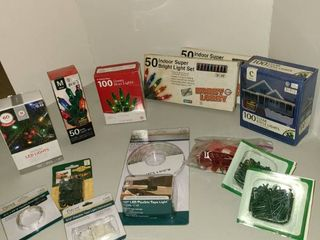Assorted Christmas lights and accessories