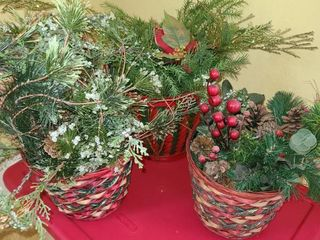 3 Christmas Faux Plants in Xmas Baskets