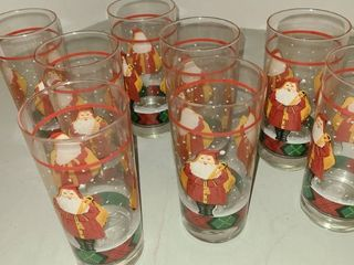 Father Christmas glasses set of 8