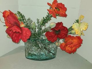 Glass Vase with Faux Flowers