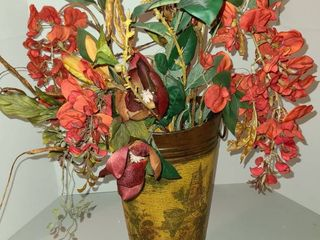 Vase with Faux Flowers  Approximately 23  tall