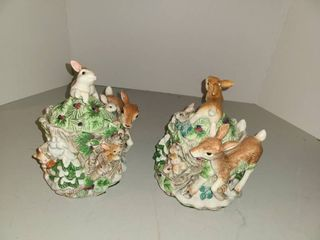 2 FITZ AND FlOYD  Deer and Bunny Sugar Bowls  One has broken ear