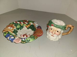 FITZ AND FlOYD Candy Dish and Santa Mug