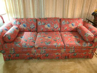 Quilted  Floral  Coral Colored Couch