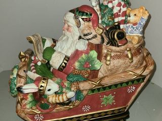 FITZ AND FlOYD  Santa and Sleigh COOKIE JAR