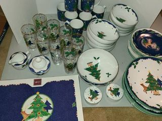 MIKASA Dinnerware  Christmas Glo  Service for 8  Set has everything