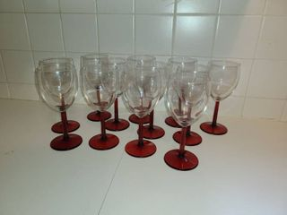 12 Red Wine Glass with Red Stem