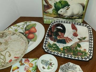 4 Platters 1 is wooden decoupage tray  others are ceramic  6 Small plates