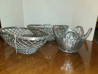 3 Silver Wire Baskets