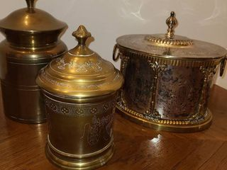 3 Brass Containers with lids
