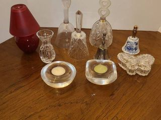 GlASS Bells  candle Holders  and other miscellaneous items