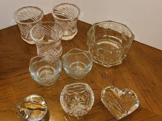 Glass Votives and 2 paper weights