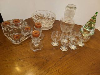 Miscellaneous Glass Candle Holders  Brandy Carafe  Brandy Sniffers and glass Christmas Tree