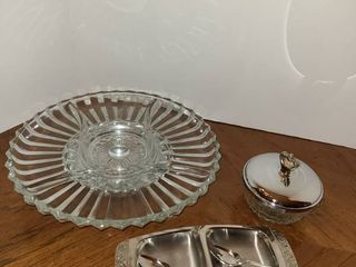 Relish Tray  glass bowl  and other plate with fork and spoon
