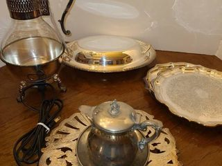 More Silver Plated Serving Dishes and Electric Carafe  Even has a cord