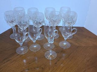9 White Wine Glasses 4 Glass Coffee Cups and 1 shot glass
