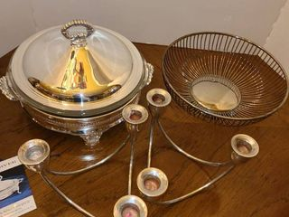 Silver Plate Duo Server  Candle Holders and a Fruit Holder