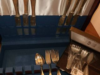 Silver plate Silverware with Box  18 pcs  Plus small box of Silver plate Servers 4 pcs