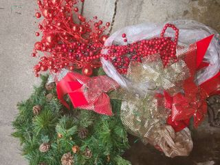 2 Christmas Wreaths and cranberries  pinecones  and bows