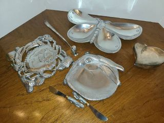 Assorted Silverplate Nic Nacs  Trivet  Jewelry Box  Cheese Knives  Candle Snuffer  and other items