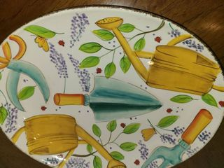 ClAY ART  Hand Painted Platter with Dip Holder