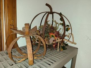 Iron Pumpkin Fall Decor 18 and 10 in Tall