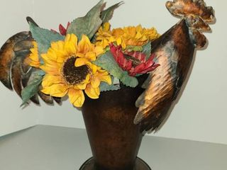 Metal Rooster Flower Pot with Faux Flowers 16 in Tall