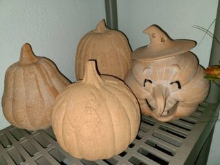 Clay and Cement Pumpkin Decor lot of 4