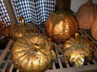 Metallic Metal Pumpkin Decor lot of 4