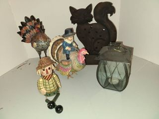 Fall Decor with lantern and Kitty lantern