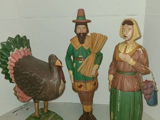 Pilgrims and Turkey Decor Man Stands 18 in Tall