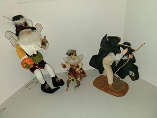 G  Devouassoux Figurine Statue with 2 Mark Roberts Wizard Fairys