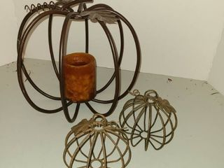 Metal Pumpkin Candle Holder with 2 Smaller Metal Pumpkins