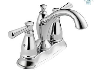 Delta linden Two Handle Centerset Bathroom Faucet with Metal Drain Assembly in Chrome 2593 MPU DST