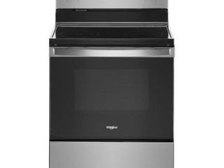 Whirlpool   5 3 Cu  Ft  Freestanding Electric Range with Self Cleaning and Frozen Bake   Stainless steel