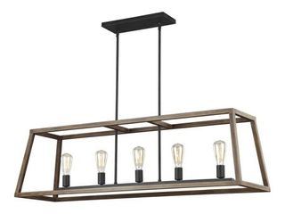 Feiss F3193 5 Weathered Oak Wood   Antique Forged Iron Gannet 5 light 50  Wide linear
