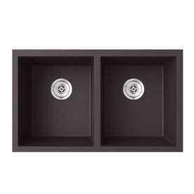 Swanstone QUSQ 3322 077 Undermount Double Bowl Sink  32 Inch x 21 Inch  Nero
