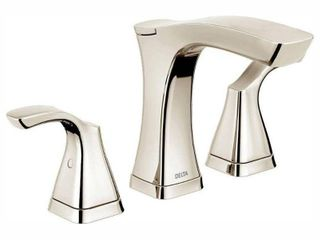 Delta Tesla Two Handle Widespread Bathroom Faucet   Metal Pop Up  Polished Nickel