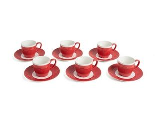 Yedi Housewares CC623 Cravat Porcelain Coffee Cups and Saucers  Red  6 Pack  RETAIl  30 95
