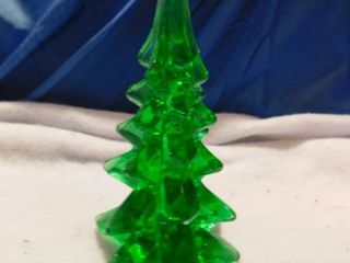 Heavy Green Glass Chirstmas Tree  Small