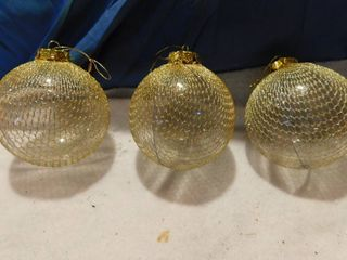 4  Glass Bulbs Netted in Gold