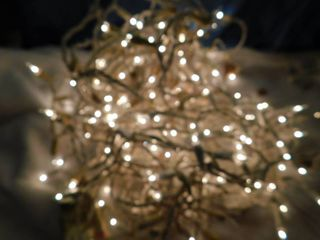 White Wired Icicle lights  3 Strands
